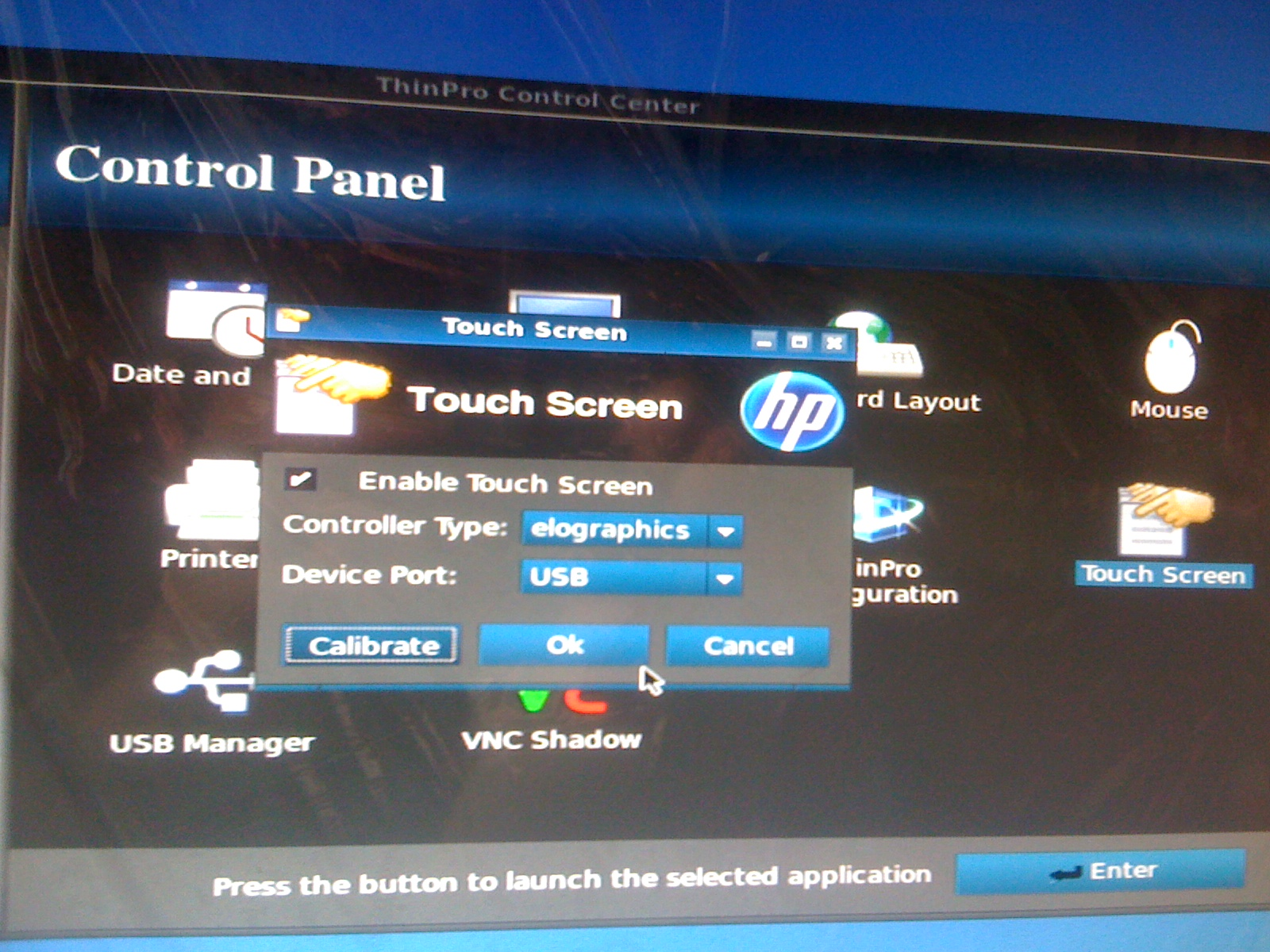 HP thin client t510 Elo Touch Screen ET2201L problem - HP
