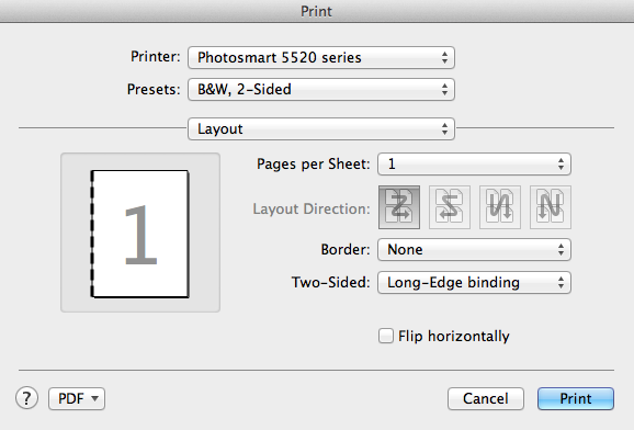 Print dialog two sided