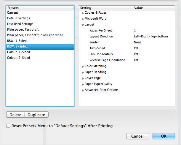 Show preset settings