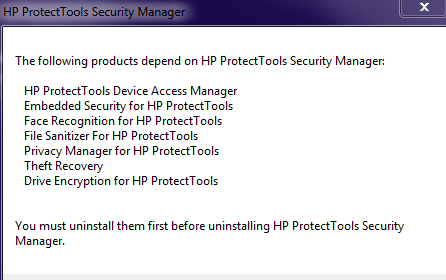 Solved: Removal/Uninstall HP ProtectTools Security Manager - Page 4