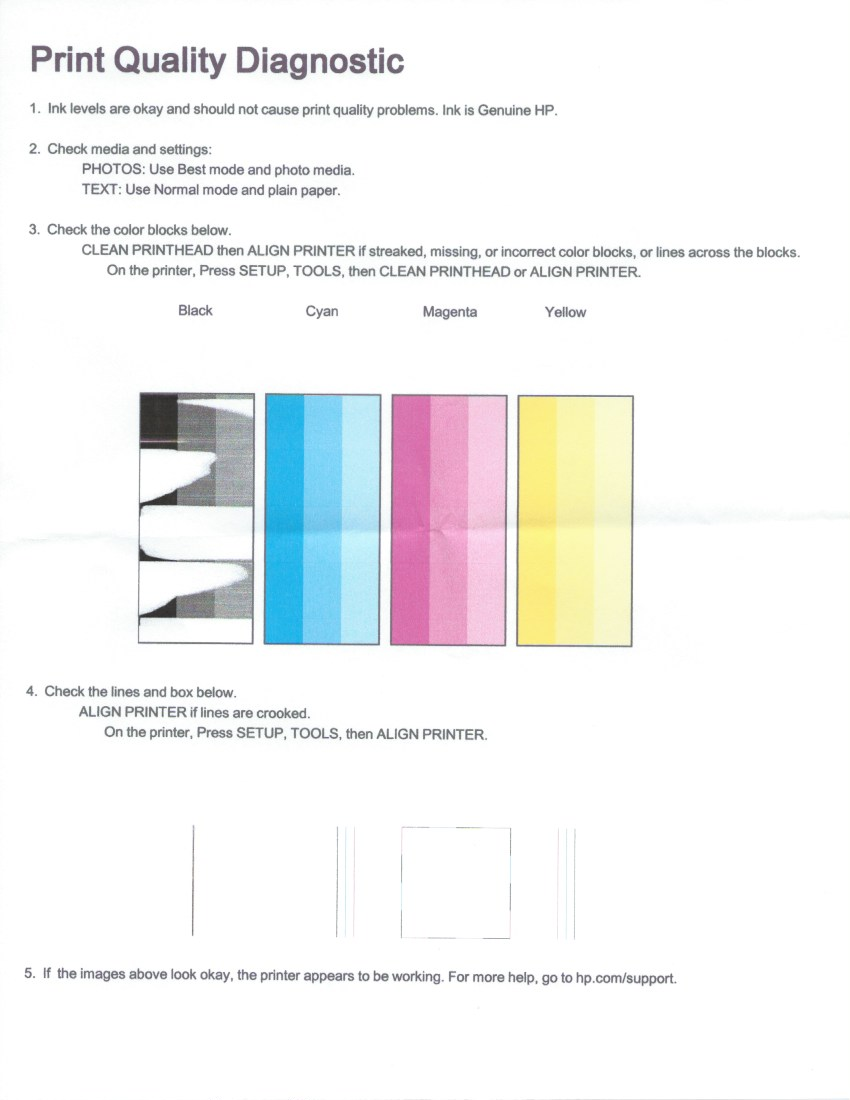 Color printing quality - Print Quality Diagnostic Jpeg