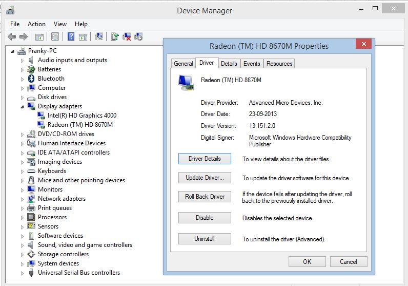Ati radeon hd 8670m driver for windows 7.