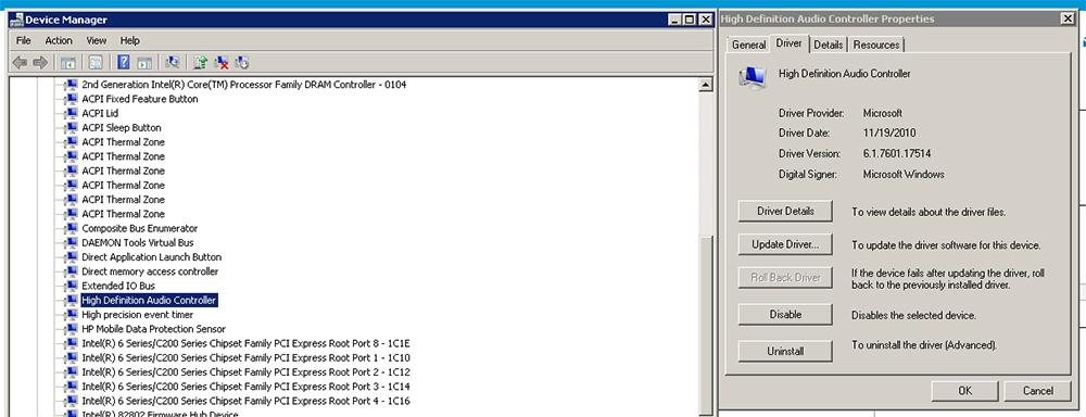 HP Elitebook 8560p driver update error: IDT High Definition