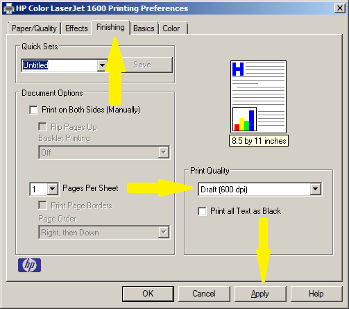 how to change my printer settings to print in color