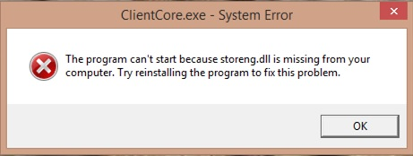 Solved: ClientCore.exe System Error storeng.dll missing HP Support A