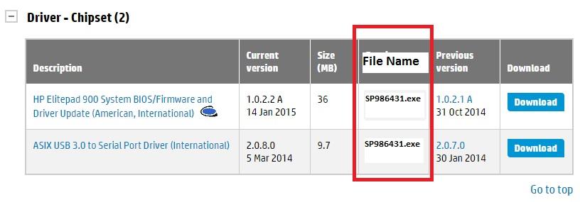 Sample screenshot of download page