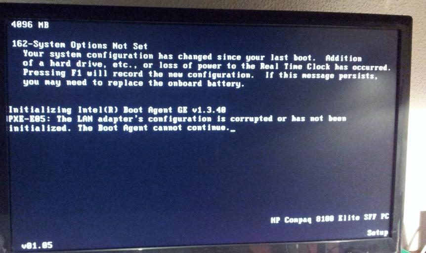 PXE-E05 error - HP Support Community - 4875597