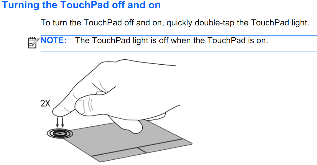 Dear I have mistakenly locked touchpad of my laptop model Pr    - HP