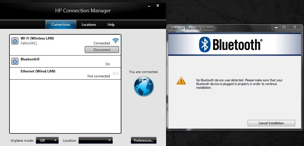 Can't install broadcom bluetooth driver and manager - HP