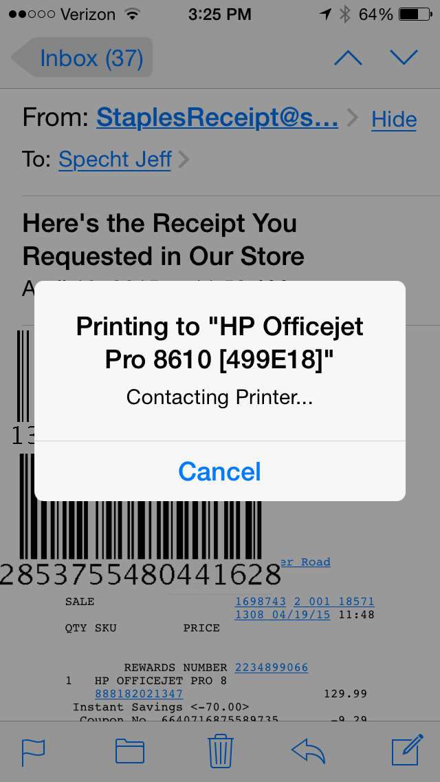 I Cannot Print From My Iphone 5s To My Hp Officejet Pro 8610 Hp