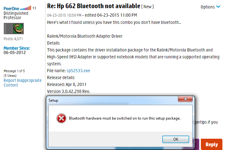 HP G62-372US Notebook Ralink/Motorola Bluetooth Windows 8
