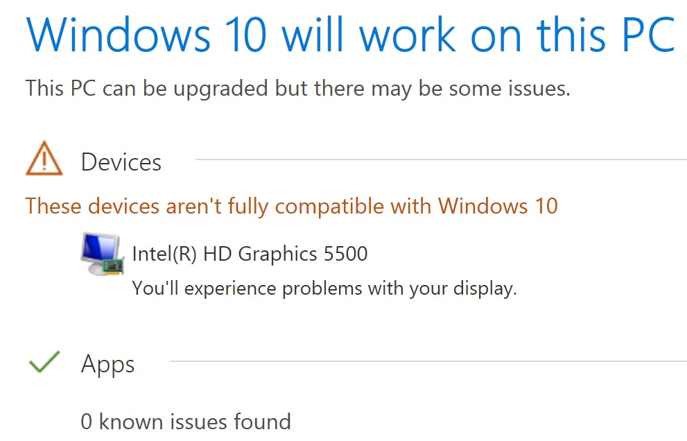 intel hd graphics 5500 not compatible with windows 10