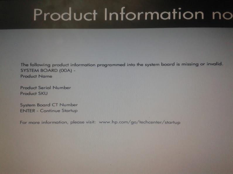 HPP ELITEBOOK 8460P BIOS STARTUP MESSAGE AND PROBLEM - HP