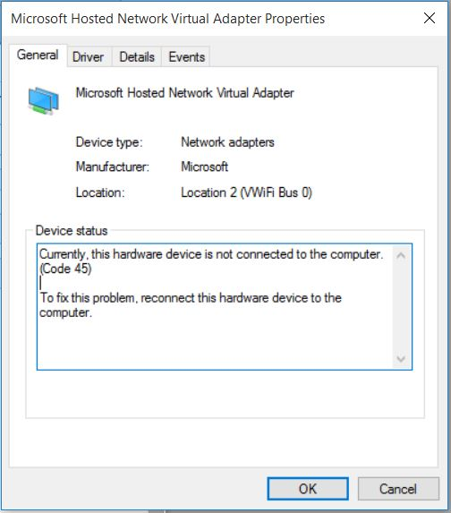 missing microsoft hosted network virtual adapter windows 10