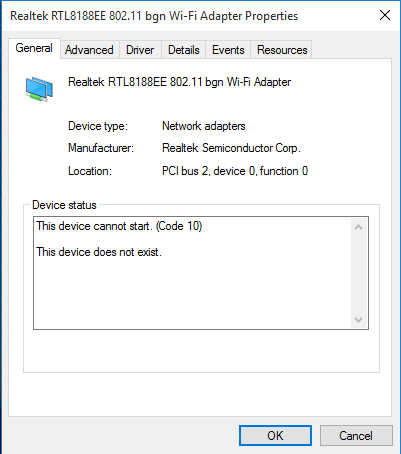 Wifi Adapter (RTL8723BE) not working after update to Win 10