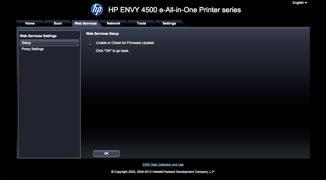 HP envy 4500 ePrint connection error: The printer could not