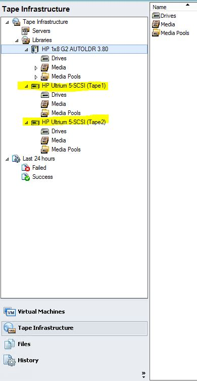 HP EML-E tape Library cant be recognized by Veeam on windows
