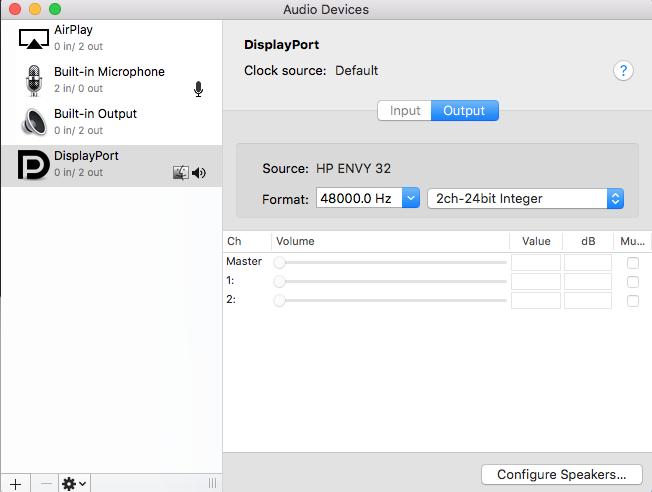 Solved: No sound on HP Envy 32 via mini DisplayPort to DisplayPort c