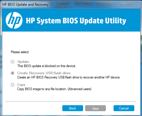 HP system BIOS update utility not working - HP Support Community