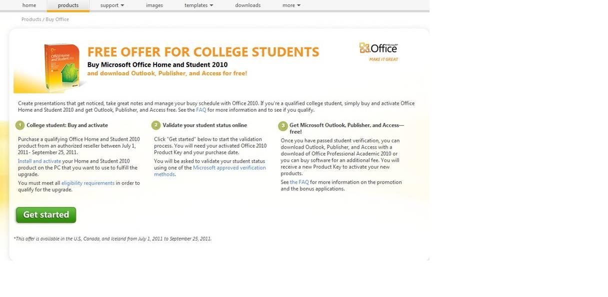 free product key for office 2010 home and student
