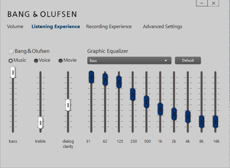 Bang & Olufsen audio is not working, just the 2 default pc