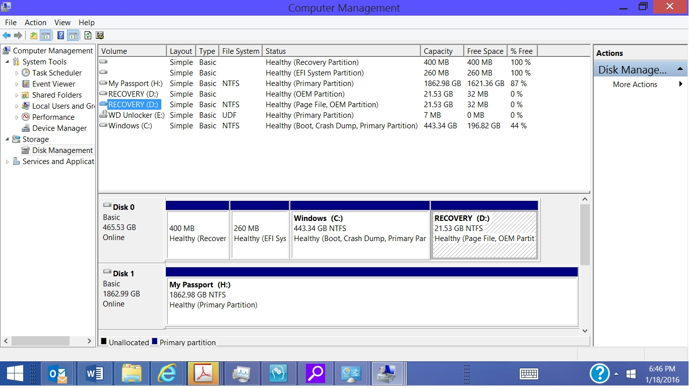 Low disk space in recovery disk (d) drive in window 8 1 - HP