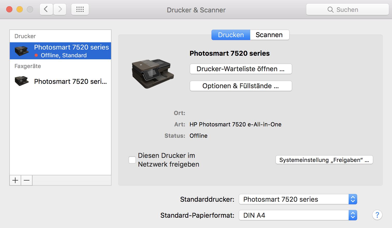 Canon Drucker Offline-Problem