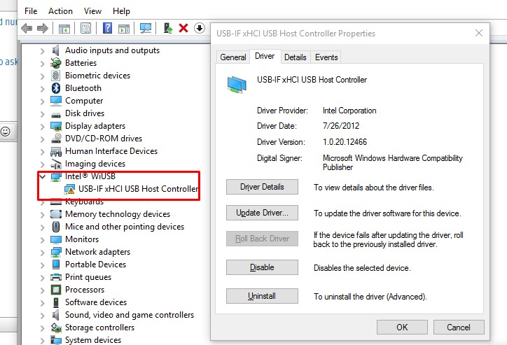 Intel WiUSB - USB-IF xHCI USB Host Controller Problem - Wind