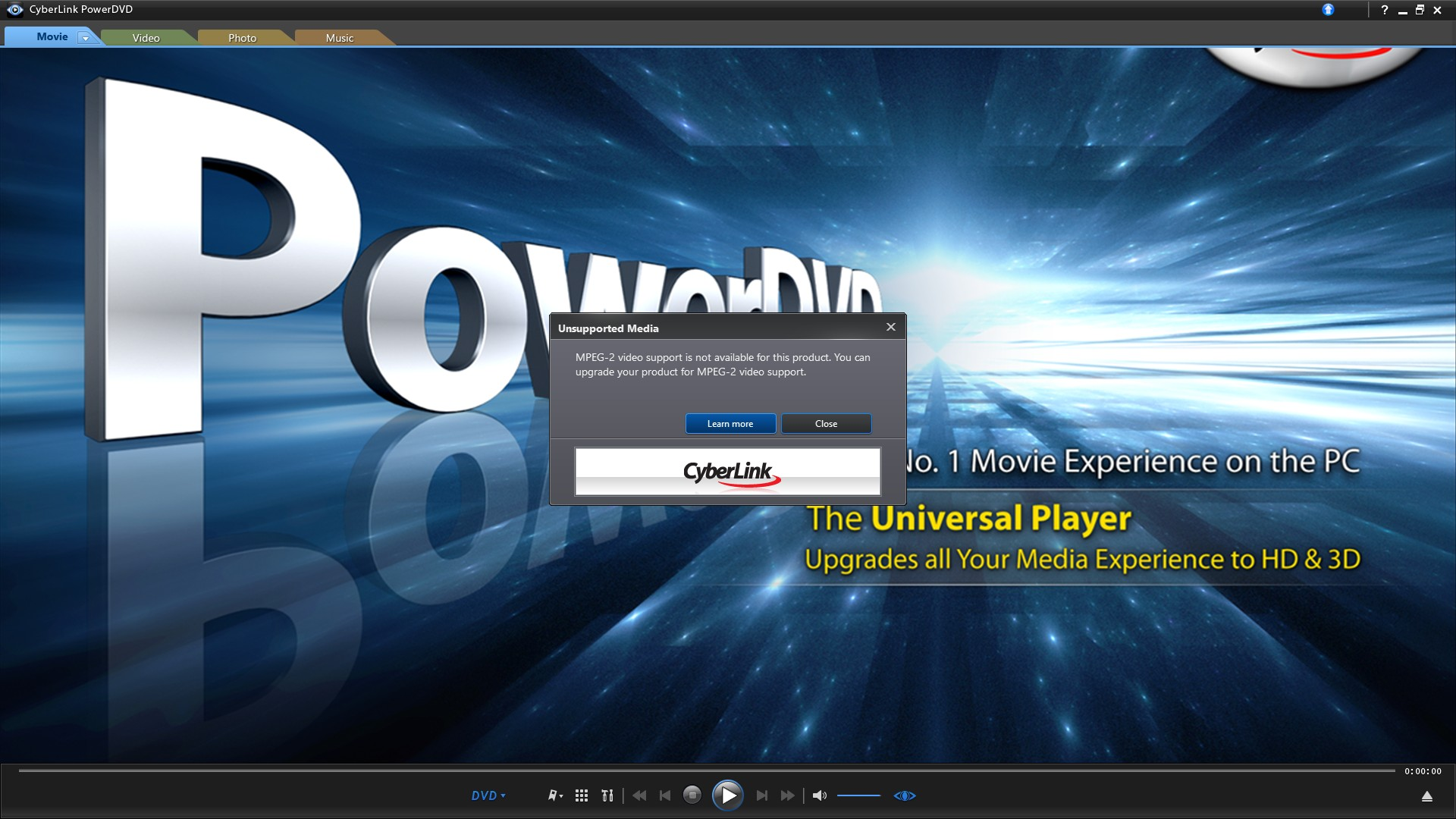 power media player won t play dvd