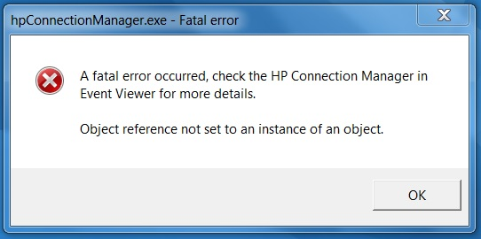 Fatal error in HP Connection Manager - HP Support Community