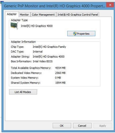 Dedicated Video Memory Reduced from 2560mb to 32mb after upd