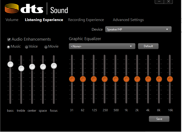dts audio control panel equalizer settings - HP Support