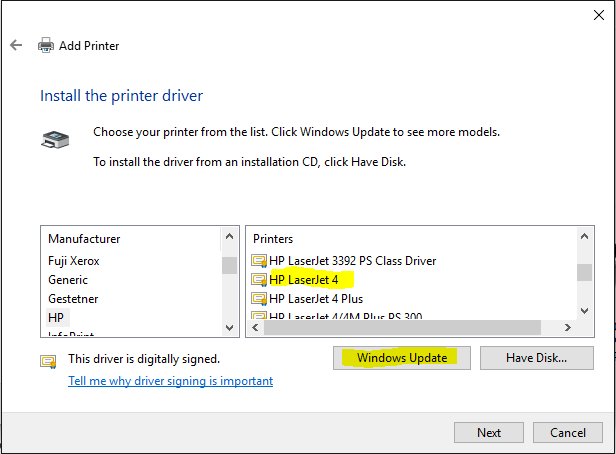 how to add hp printer in windows 10
