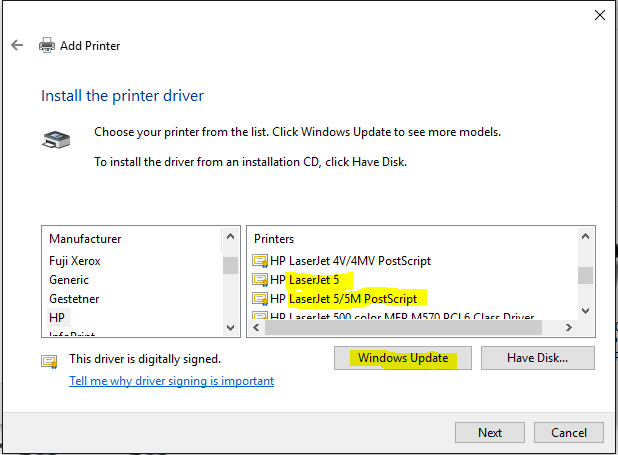 you may have to click the windows update button in the add printerdialogue then wait perhaps for several minutes whilst additional drivers are downloaded