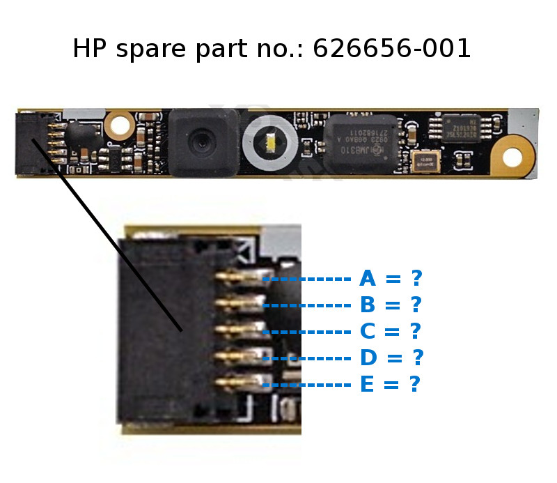 solved pin layout of webcam module hp support community. Black Bedroom Furniture Sets. Home Design Ideas