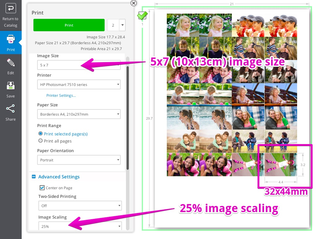 HP Photo Creations is auto cropping my pictures to fit stand