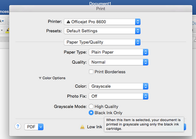 Solved Black Ink Only Printing Via Mac OSX 1010 Officejet Pro 8600