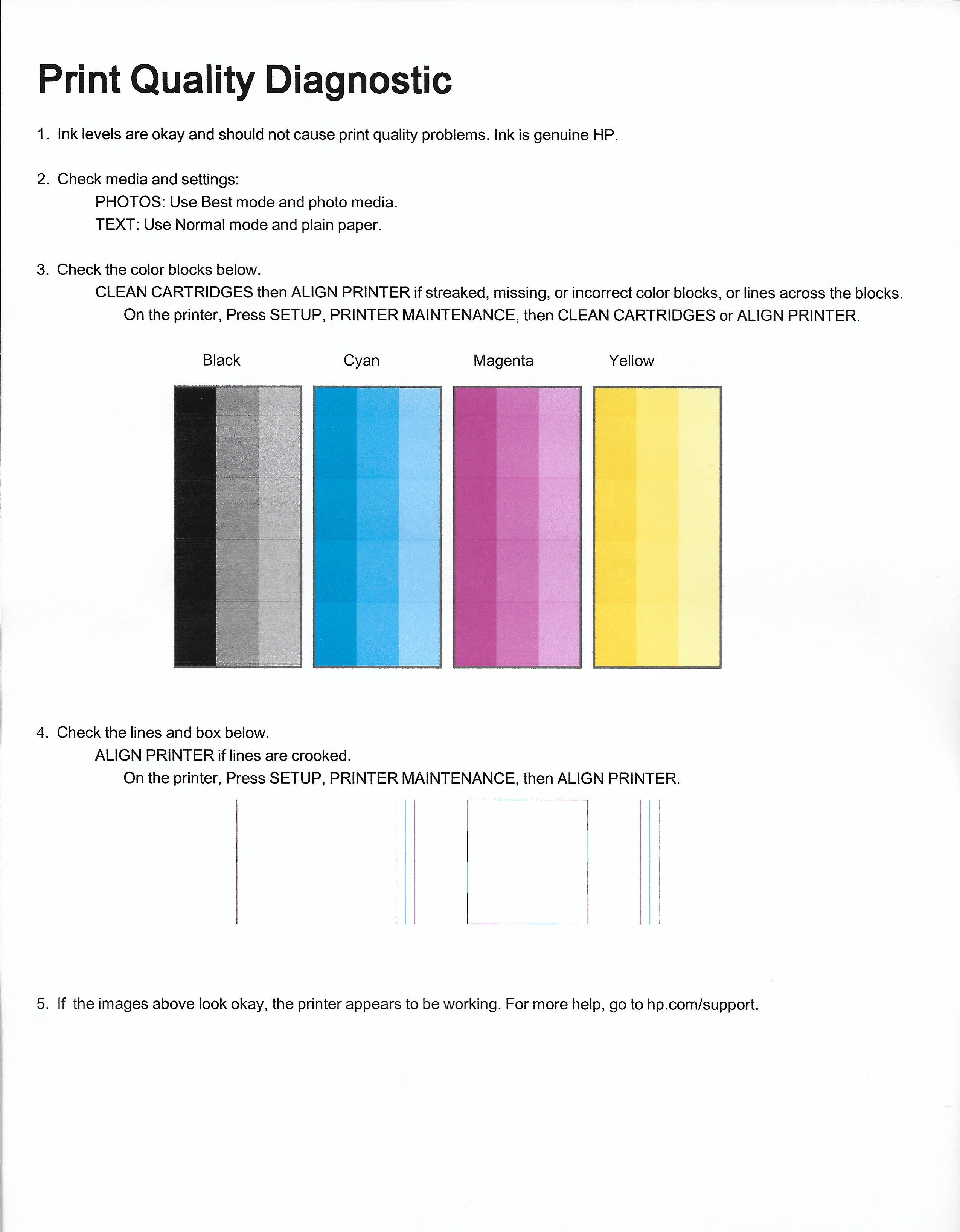 HP ENVY 5660 prints with horizontal white (blank) lines acro    - HP