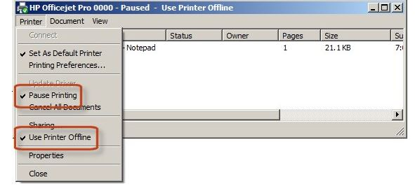 how to turn printer online windows 7