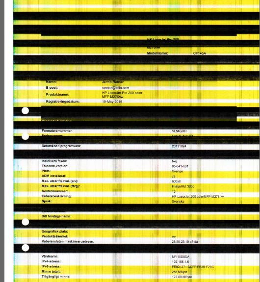 HP Laserjet Pro 200 color mfp m276nw, black prints, black b    - HP