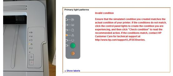 P2035 Solid Orange Light After Toner Change Invalid Condi Hp