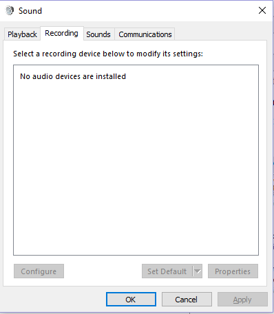 windows sound service not running
