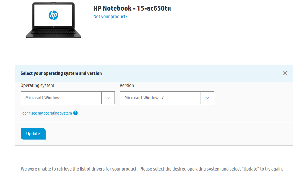 I am not able to download software for my laptop 15-ac-650 t