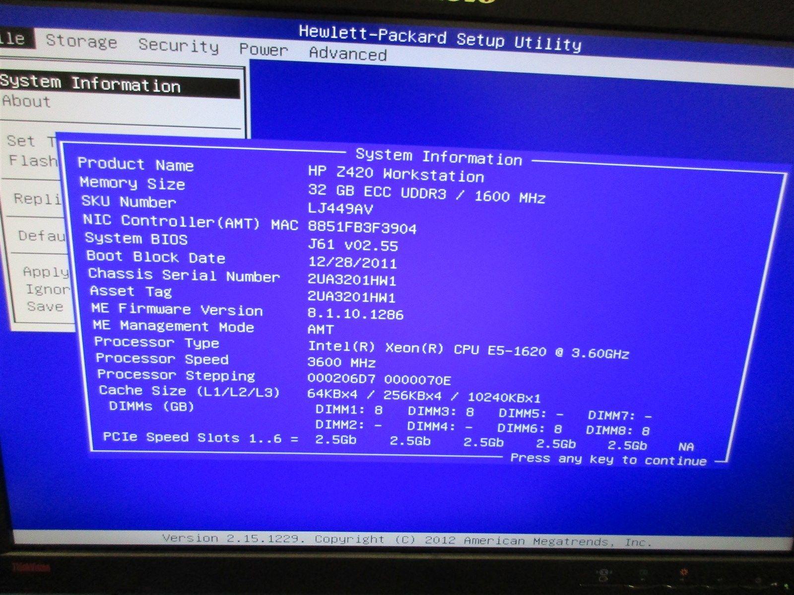 BIOS v3 50 for z420 Workstation - HP Support Community - 5654537