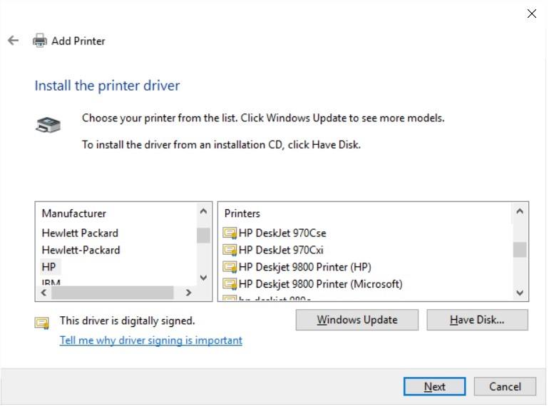 Solved Location To Download Actual Driver For HP Deskjet 9800