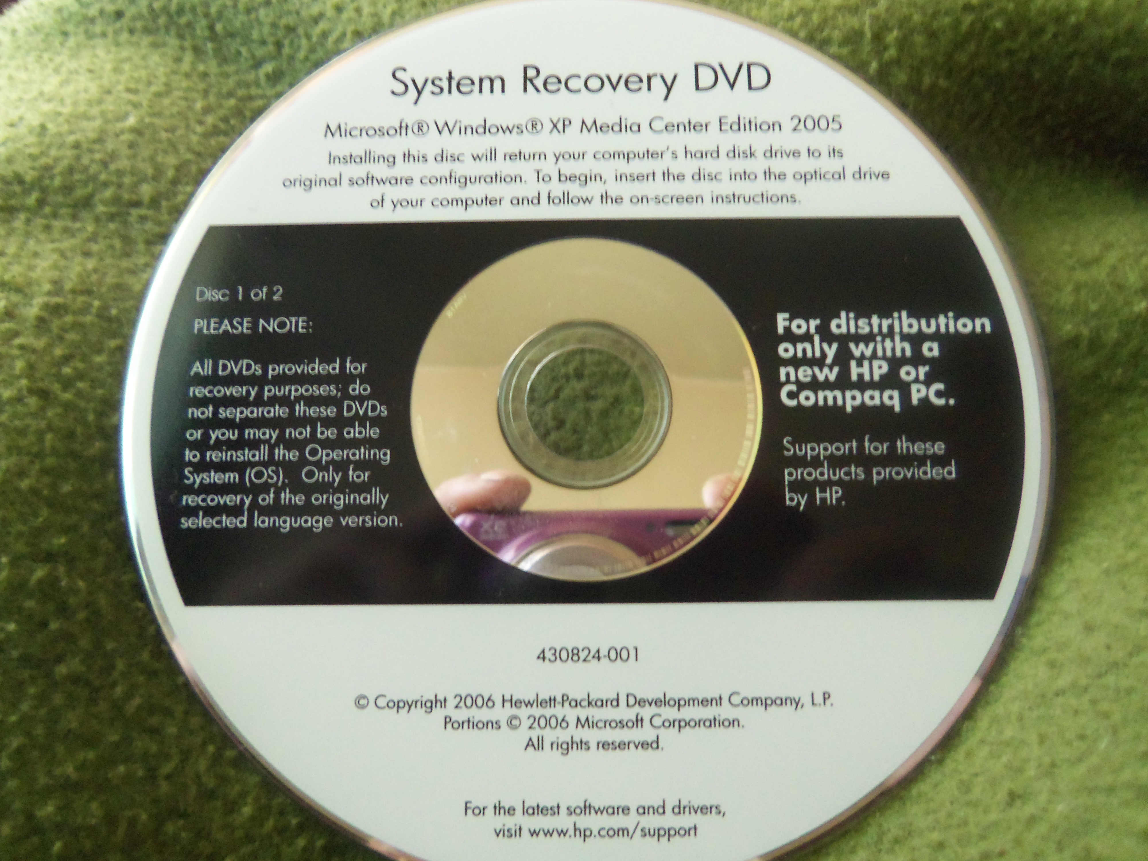 installed new hard drive ran hp recovery disc's- get error c    - HP