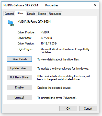 nvidia 950m drivers windows 10