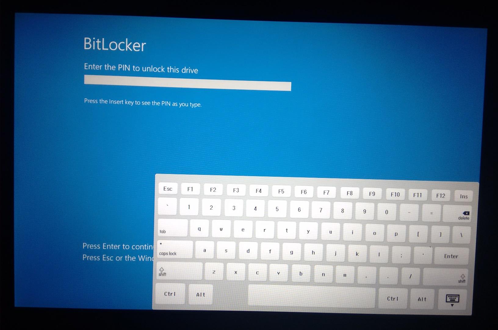 entering bitlocker pin keyboard shows up but doesn 39 t work hp support forum 5692744. Black Bedroom Furniture Sets. Home Design Ideas
