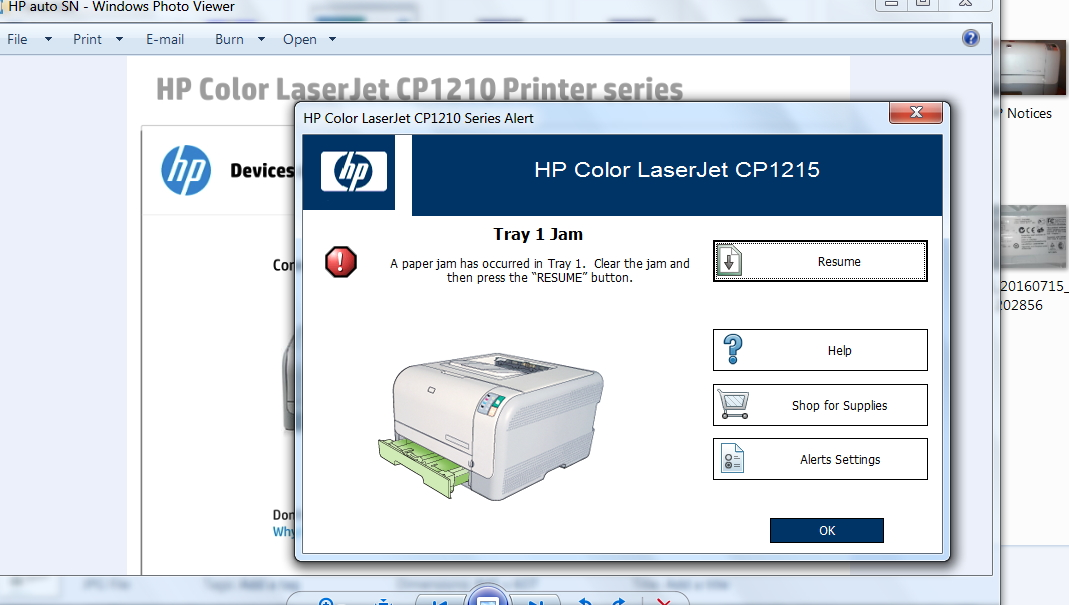 laserjet 1215 cp1215 paper tray physically jamed shut hp