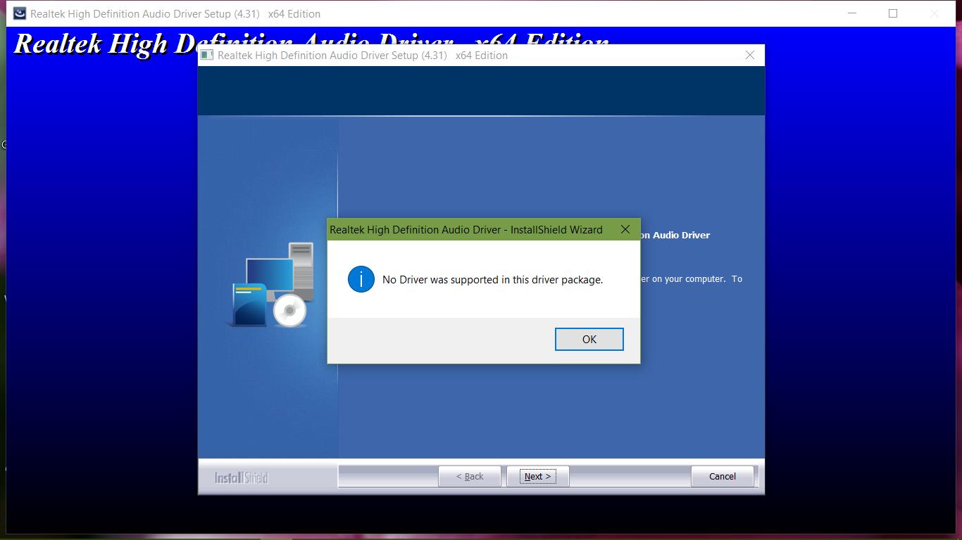 Realtek Driver won\u0027t install on Windows 10 anniversary updat... - HP